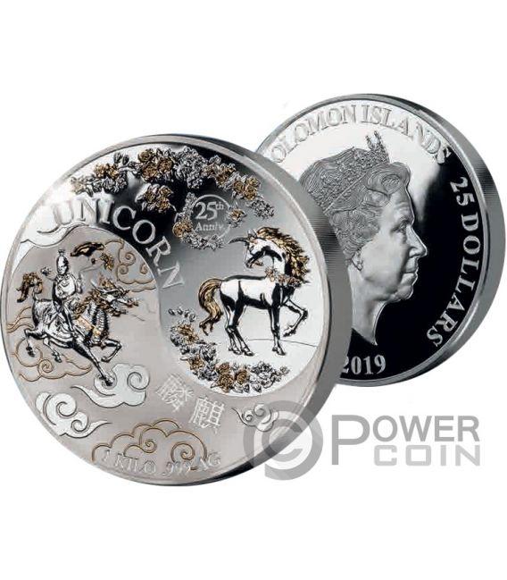 chinese unicorn 25 jahrestag yin yang 1 kg silber münze 25