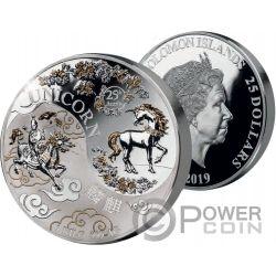 CHINESE UNICORN 25 Anniversario Yin Yang 1 Kg Moneta Argento 25$ Solomon Islands 2019