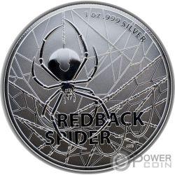 REDBACK SPIDER Arana 1 Oz Moneda Plata 1$ Australia 2020