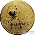 REDBACK SPIDER Ragno 1 Oz Moneta Oro 100$ Australia 2020