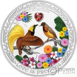 BIRDS OF PARADISE Love is Precious 1 Oz Moneta Argento 2$ Niue 2020