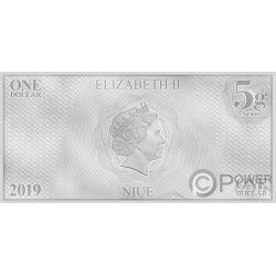 DEANNA TROI Star Trek Next Generation Characters Foil Silver Note 1$ Niue 2019