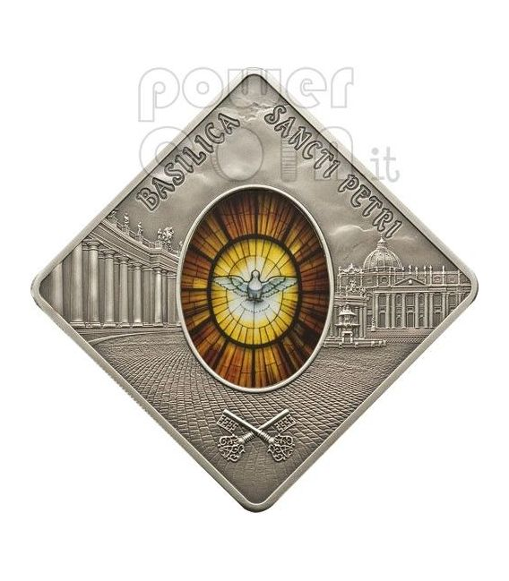 BASILICA SAN PIETRO Sancti Petri Roma Holy Windows Moneta Argento 10$ Palau 2011