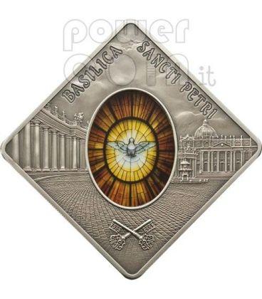 SAINT PETER BASILICA Sancti Petri Rome Holy Windows Silver Coin 10$ Palau 2011