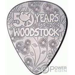 WOODSTOCK Gitarren-Pick 50 Jubilaum 1/4 Oz Silber Münze 2$ Cook Islands 2019