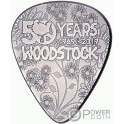 WOODSTOCK Guitar Pick 50th Anniversary 1/4 Oz Silver Coin 2$ Cook Islands 2019
