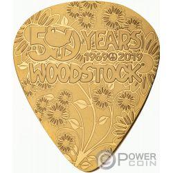 WOODSTOCK Plettro Chitarra 50 Anniversario 1/4 Oz Moneta Oro 50$ Cook Islands 2019