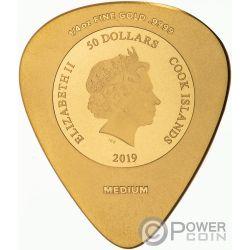 WOODSTOCK Gitarren-Pick 50 Jubilaum 1/4 Oz Gold Münze 50$ Cook Islands 2019
