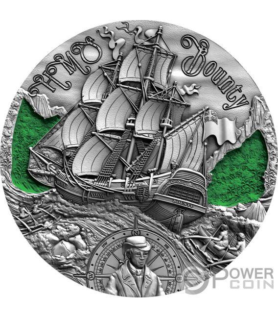 HMS BOUNTY Golden Age of Sail 2 Oz Silver Coin 2$ Cameroon 2019