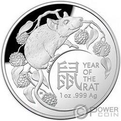 RAT Lunar Year 1 Oz Silver Coin 5$ Australia 2020