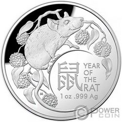 RAT Rata Lunar Year 1 Oz Moneda Plata 5$ Australia 2020