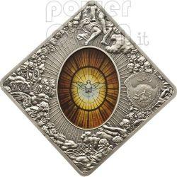SAINT PETER BASILICA Sancti Petri Rome Holy Windows Серебро Монета 10$ Палау 2011