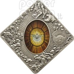 SAINT PETER BASILICA Sancti Petri Rome Holy Windows Silver Coin 10$ Palau 2011