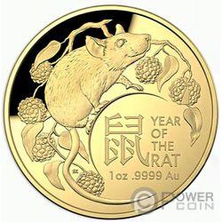 RAT Ratte Lunar Year 1 Oz Gold Münze 100$ Australia 2020
