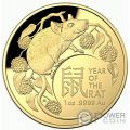 RAT Lunar Year 1 Oz Gold Coin 100$ Australia 2020