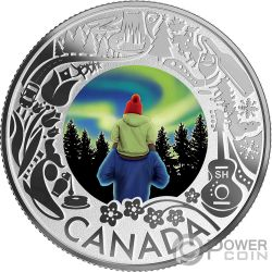 AURORA BOREALIS Fun and Festivities Moneda Plata 3$ Canada 2019