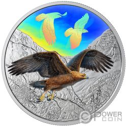 GOLDEN EAGLES Majestic Birds in Motion 2 Oz Moneta Argento 30$ Canada 2019