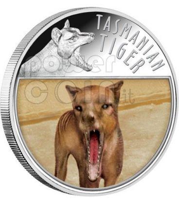 TIGRE DELLA TASMANIA Lenticolare Moneta Argento 5$ Niue 2011