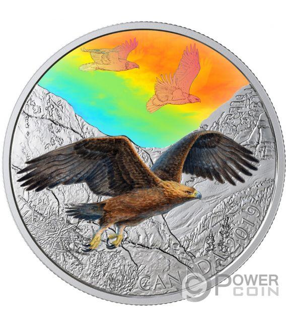 GOLDEN EAGLES Majestic Birds in Motion 2 Oz Moneta Argento 30$ Canada 2019