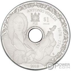 ANTONIO VIVALDI Playable CD Proof Moneta Argento 1$ Fiji 2018
