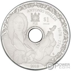 ANTONIO VIVALDI Playable CD Proof Silver Coin 1$ Fiji 2018