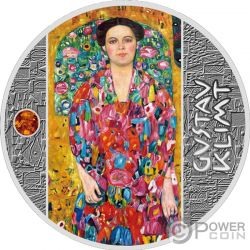 PORTRAIT OF EUGENIA Amber Gustav Klimt Golden Five Silver Coin 1$ Niue 2019