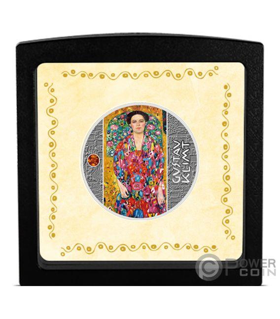 PORTRAIT OF EUGENIA Amber Gustav Klimt Golden Five Silver Coin 1$ Niue 2019