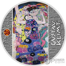 VIRGIN Amber Gustav Klimt Golden Five Silver Coin 1$ Niue 2019