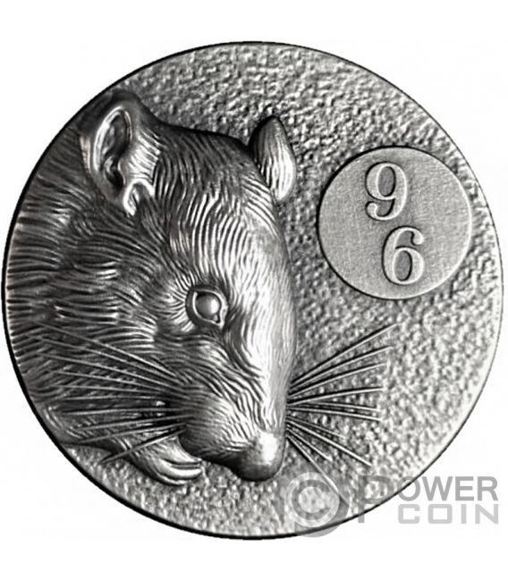 RAT 96 Chinese Zodiac Series 2 Oz Silver Coin 5$ Niue 2020