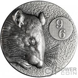 RAT 96 Chinese Zodiac Series 2 Oz Moneda Plata 5$ Niue 2020