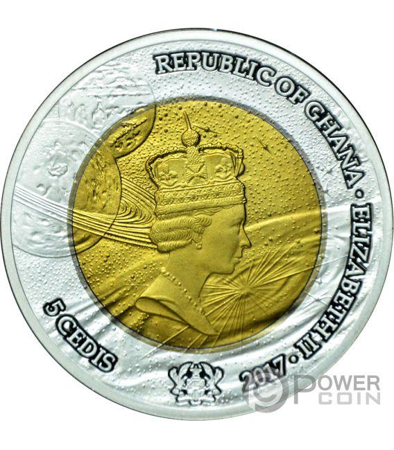 EXPLORATION Tantalum Silver Coin 5 Cedis Ghana 2017