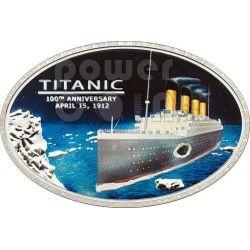 TITANIC 100 Anniversario Carbone Transatlantico White Star Line Moneta Argento 5$ Cook Islands 2012
