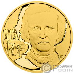 EDGAR ALLAN POE Rabe 175th Anniversary 1/2 Oz Gold Münze 25$ Niue 2019
