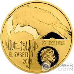 EDGAR ALLAN POE Cuervo 175th Anniversary 1/2 Oz Moneda Oro 25$ Niue 2019