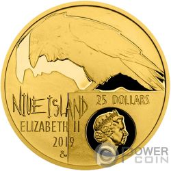 EDGAR ALLAN POE Raven 175th Anniversary 1/2 Oz Gold Coin 25$ Niue 2019