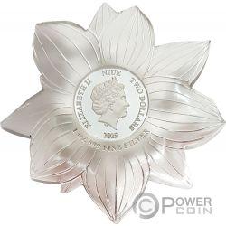 LOTUS Flor Shape World Enchanting Flower 1 Oz Moneda Plata 2$ Niue 2019