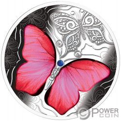 RED BUTTERFLY Mariposa Colorful World Moneda Plata 500 Francos Cameroon 2020