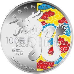 DRAGON Lunar Year 5 Oz Silver Proof Coin 100 Patacas Macau 2012