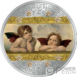ANGELS SISTINE MADONNA Chica Masterpieces of Art 3 Oz Moneda Plata 20$ Cook Islands 2020