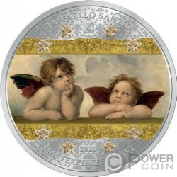 ANGELS SISTINE MADONNA Masterpieces of Art 3 Oz Moneta Argento 20$ Cook Islands 2020