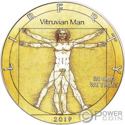 VITRUVIAN MAN Da Vinci Walking Liberty 1 Oz Moneta Argento 1$ USA 2019