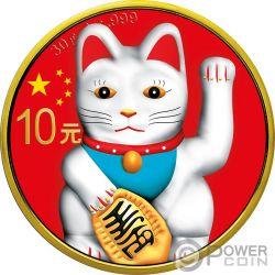 LUCKY CAT Panda Colorized Серебро Монета 10 Юаней Китай 2018