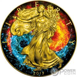 FIRE AND WATER Acqua Fuoco Yin Yang Walking Liberty 1 Oz Moneta Argento 1$ USA 2017