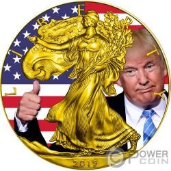 TRUMP Donald Walking Liberty 1 Oz Moneta Argento 1$ USA 2019