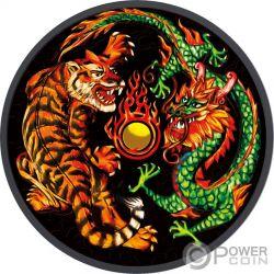 DRAGON TIGER Yin Yang Rutenio 1 Oz Moneta Argento 1$ Australia 2018