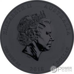DRAGON TIGER Yin Yang Ruthenium 1 Oz Silver Coin 1$ Australia 2018