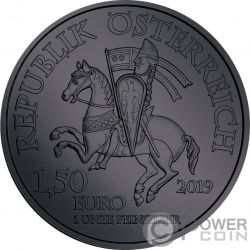 DUKE LEOPOLD V Black Ruthenium 1 Oz Silver Coin 1.5€ Austria 2019