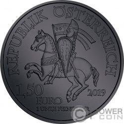 DUKE LEOPOLD V Duque Black Ruthenium 1 Oz Moneda Plata 1.5€ Austria 2019