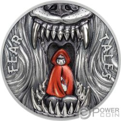 LITTLE RED RIDING HOOD Caperucita Roja Fear Tales 2 Oz Moneda Plata 10$ Palau 2019
