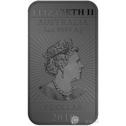 DRAGON Coloreada Flamas Rutenio 1 Oz Moneda Plata 1$ Australia 2019